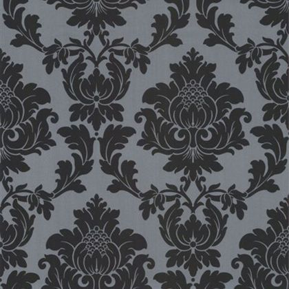 Classics Regency Damask Wallpaper - Black and Silver at Homebase -- Be inspired and make your house a home. Buy now.