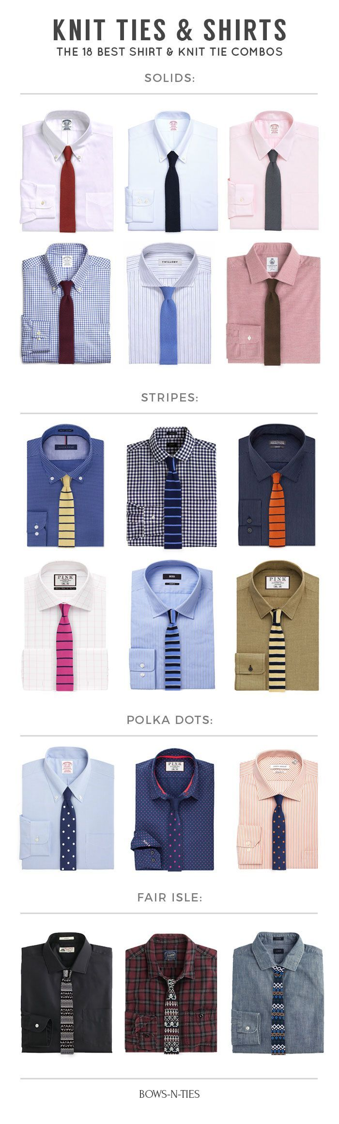 Innovative Shirt + Knit Tie Pairings