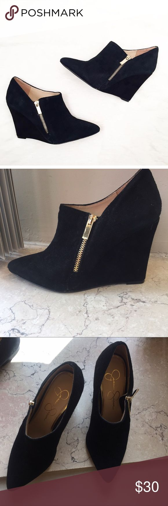 Jessica Simpson Wedges Shoes 8 Bootie black Brand new never worn Jessica Simpson wedge bootie. These are a little narrow. Side gold zipper. Very elegant shoes! Jessica Simpson Shoes Ankle Boots & Booties