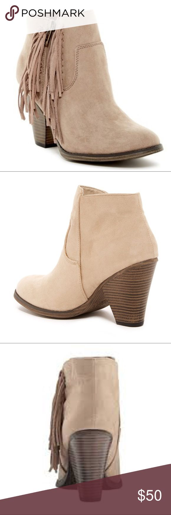 "Suede Fringe Stacked Chunky Heel Bootie Color is Sand (the light color) Western-inspired side fringe detail completes a soft textured bootie lifted on a wooden heel.  Sizing: True to size. Standard width   - Round toe - Vegan suede with genuine suede fringe detail - Side zip closure - Stacked print chunky heel - Approx. 3.5"" shaft height, 9"" opening circumference - Approx. 3.5"" heel - Imported Shoes Ankle Boots & Booties"