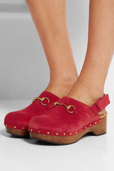 Gucci - Horsebit-detailed Suede Clogs - Red - IT
