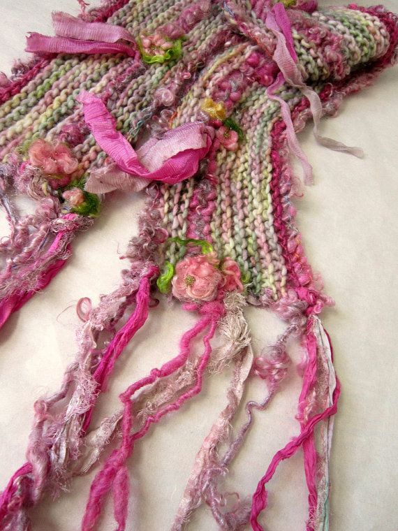 soft handknit spring roses scarf my mothers by beautifulplace