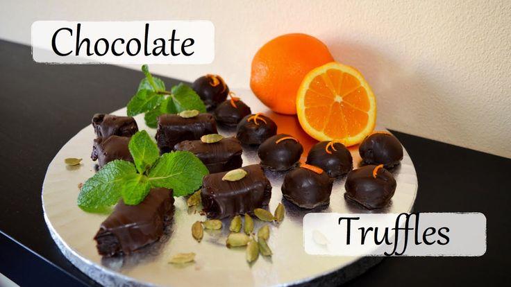 Chocolate Truffles Recipe - Cardamom, Mint & Orange flavours!