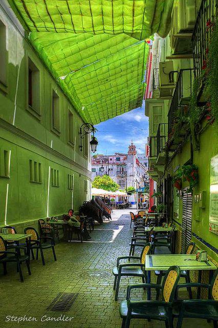 Shades Of Green by Light+Shade [spcandler.zenfolio.com], via Flickr: Cafes, Spain Cafe, Romantic Places, Green Street, De Barrameda, Andalucia Spain, Street Bar, Secret Spain, Shades Of Green