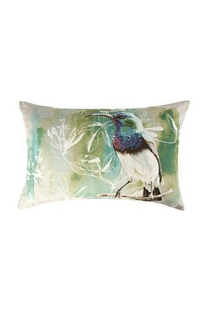 """This gorgeous printed sugar bird cushion is perfect for scattering in the lounge. Add touches of greens and blues to your decorating style for a trendy finish.<div class=""""pdpDescContent""""><BR /><b class=""""pdpDesc"""">Dimensions:</b><BR />L60xW40 cm<BR /><BR /><b class=""""pdpDesc"""">Fabric Content:</b><BR />30% Cotton 70% Polyester<BR /><BR /><b class=""""pdpDesc"""">Wash Care:</b><BR>Gentle machine wash low heat tumble dry</div>"""