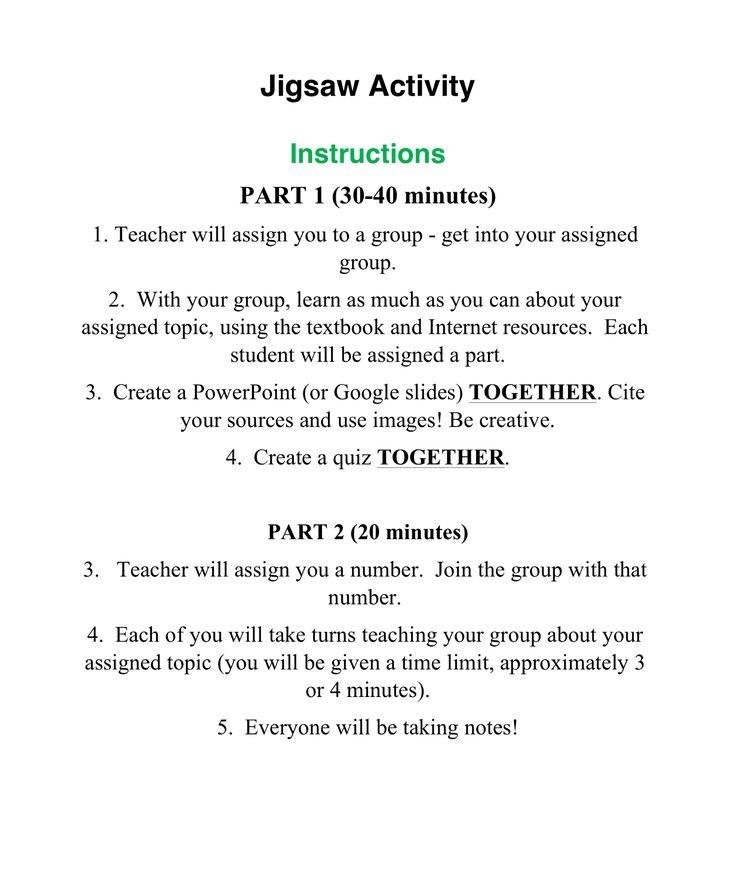 Jigsaw Activity Friday, November 23, 2018 Textbook