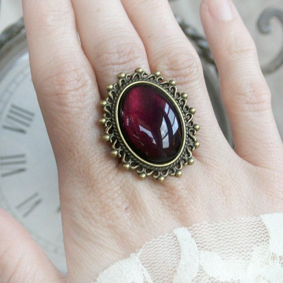 PASSIONATE GARNET Victorian cocktail ring with ornate aged bronze and hand painted glass, free gift boxing