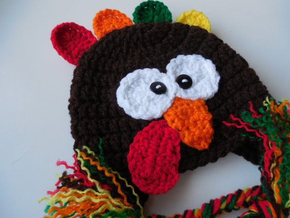 Turkey Hat - Earflap Turkey Hat - Handmade Crochet - Baby to Adult Sizing - Thanksgiving Hat - Made to Order