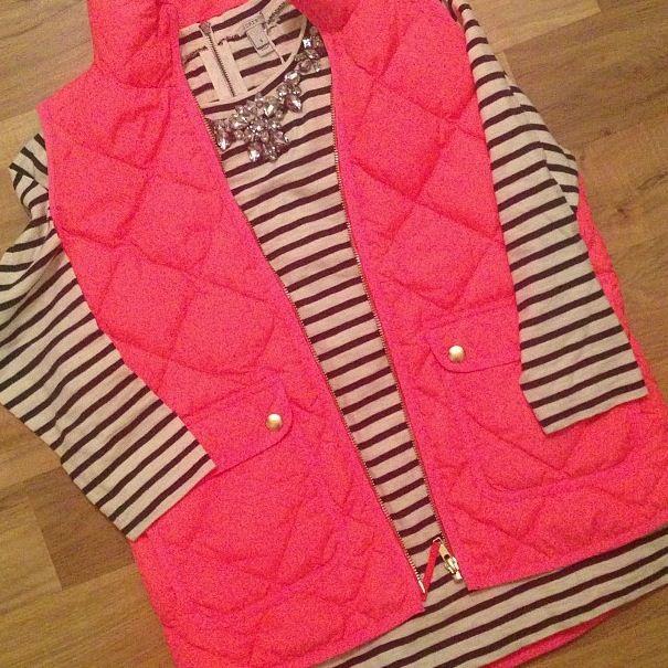 Jcrew pink vest, black & white stripe top