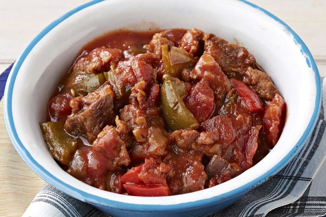 Made with grilled steak, crumbled Mexican chorizo and a mélange of onions, peppers and tomatoes, this may well be the heartiest chili ever invented!
