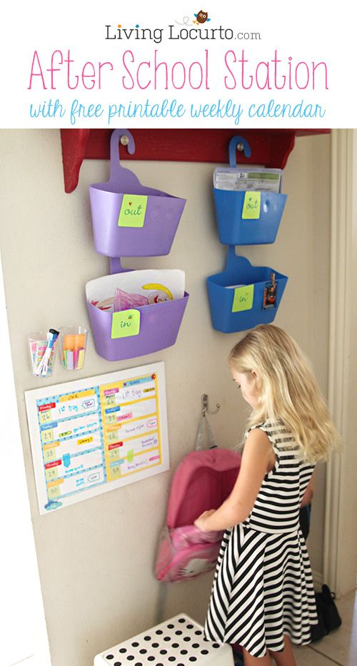 Get organized for school. Love this! After School Station with Free Printable Weekly Calendars by LivingLocurto.com