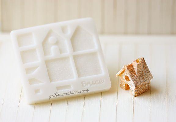 Dollhouse Miniature Christmas Gingerbread House-dollhouse miniature christmas mold, 1:12 scale gingerbread house mold