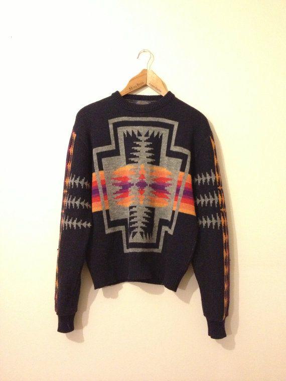 Pendleton navajo knit pattern navy jumper by