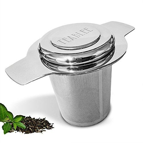 Teablee Tea Infuser Loose Leaf Tea Strainer 304 Stainless Steel Extra-Fine Mesh with Lid - Best for Fine Loose Teas