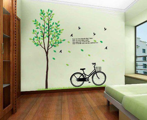 Modern Wall Decals  YYone Tree Grass Bike Birds Love Poem Wall Sticker Living  Room Decoration