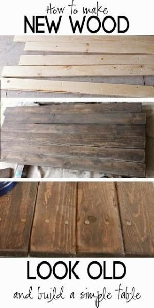 How to distress wood, make new wood look like barn wood and build a simple rustic sofa table. by Beverly jean