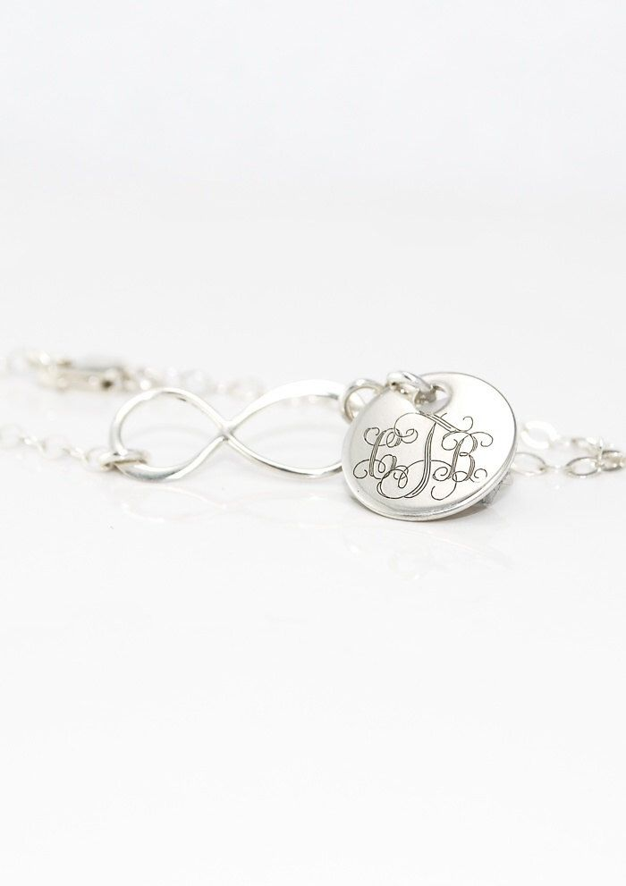 Monogram Infinity charm Bracelet in sterling silver - Monogrammed Engraved Personalized gifts for her - Bridesmaids jewelry  - women girls by CherishedSentiments on Etsy https://www.etsy.com/listing/120022851/monogram-infinity-charm-bracelet-in