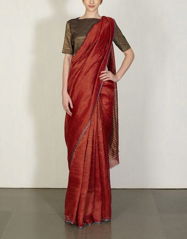 Red Metallic Checkered Sari-Anavila