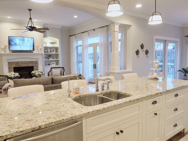 Kitchen Island Open layout Open Floor plan, Giallo Ornamental Granite, French Doors
