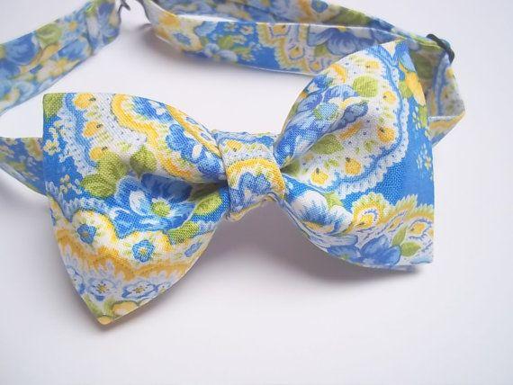 Bleu jaune Paisley noeud papillon-mariage bleu jaune couleurs-bleuet bleu pâle jaune papillon-mariage Paisley noeud papillon