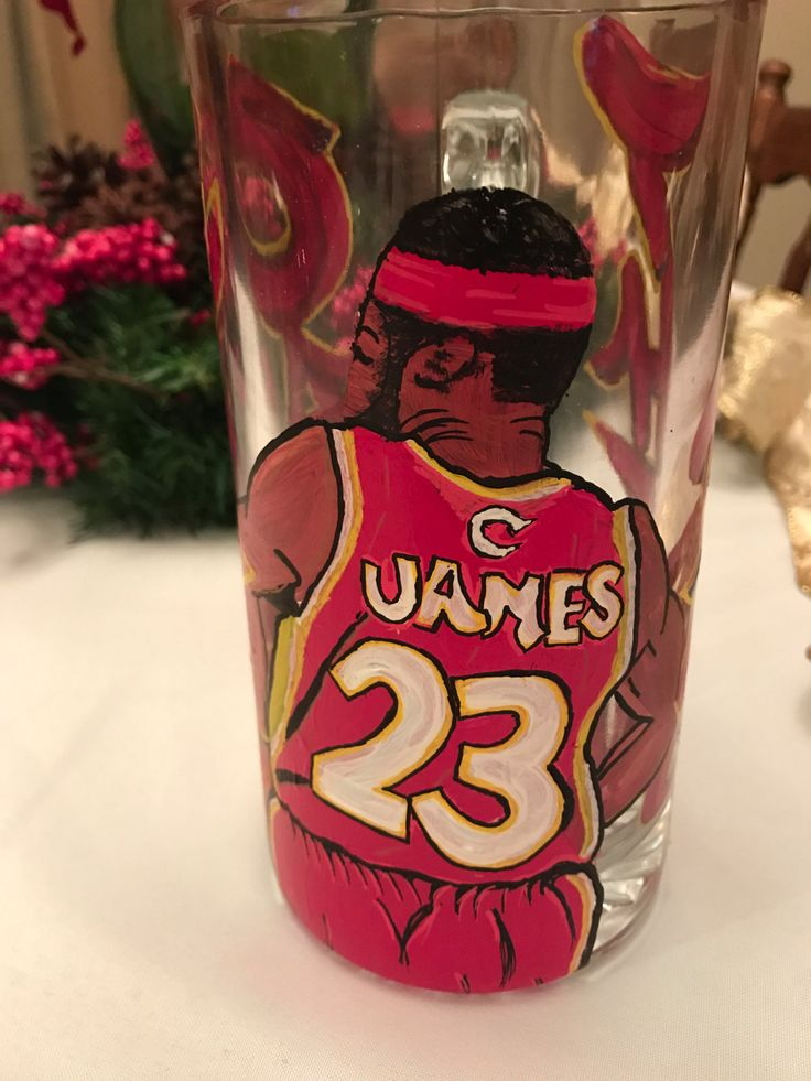 Lebron James Cleveland Caviliers Hand Painted Glass Mug by CourlinGroupDesigns on Etsy