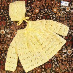 baby matinee coat and hat set vintage knitting by Ellisadine