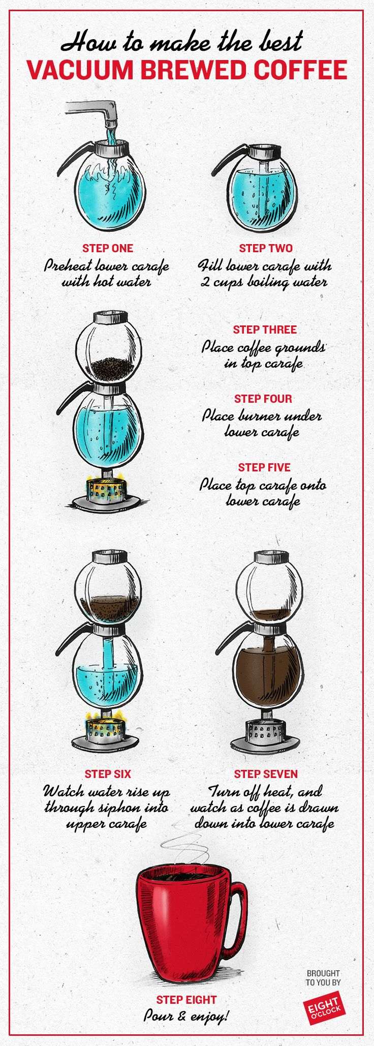 Your high school chemistry teacher would love this! It's probably the most dramatic way ever to brew coffee - and it produces a clean, crisp, smooth flavor. Practice a few times on your own to get the technique down, and then - it's show time! Click on the pin to get all the Eight O'Clock blends you can use to try out vacuum brewed coffee!