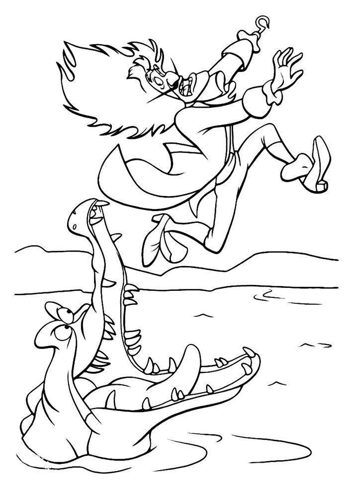 Crocodile Catcher Coloring Pages In 2020 Peter Pan Coloring Pages Coloring Pages Cartoon Coloring Pages