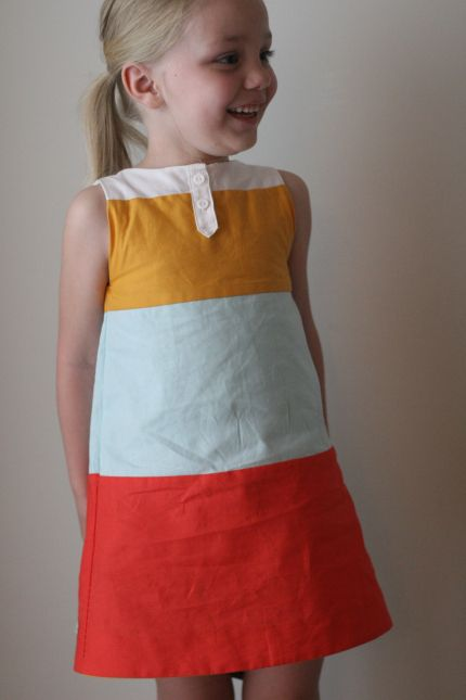 Caps for Sale dress - and this blog has lots of really cute little girl clothes patterns