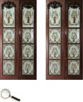 A pair of reverse glass door panels, each with four translucent glass panels within a hardwood frame, each painted with a design depicting a Bird of Paradise in a tree.     84 in L x 38 B in (each pair)