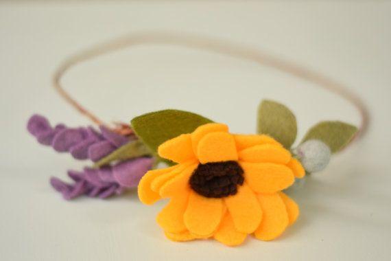 Sunflower Floral Crown - Felt Flower Head Wreath - Sunflower, Lavender, and Berry Wedding Hair Accessory