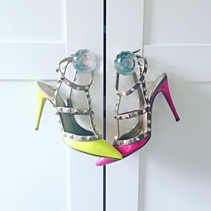 A difficult decision! Neon yellow or shocking pink studded Valentino rockstud shoes?!