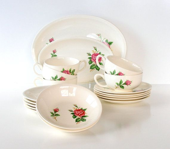 Vintage Dinnerware Paden City Pottery 1950s Pink Rose