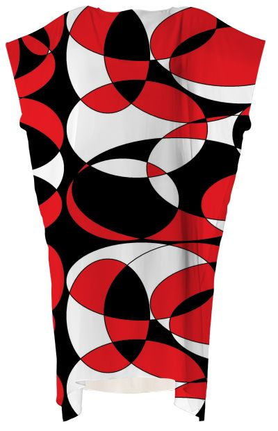 Stunning black, white and red dress for Mom with matching items for Dad and baby