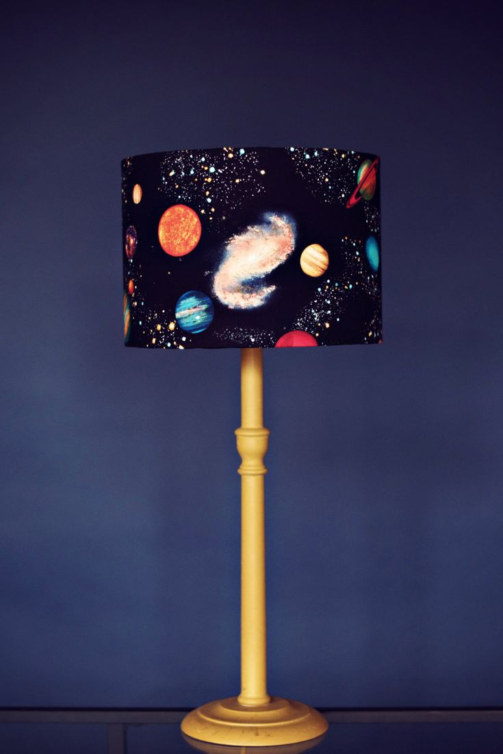 Planet lamp, stars lampshade,  space lamp,  black lamp,  kids lamps, childrens lampshade, childrens lamps,  drum lampshade, fabric lampshade - pinned by pin4etsy.com