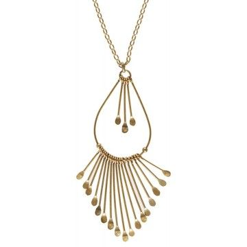 Hultquist-Copenhagen Bamboo & Dragonfly Multi Drop Necklace  This gold plated necklace from Hultquist-Copenhagen features a teardrop pendant with cascading gold discs.  This stunning creation will add a Bohemian edge to your chic summer wardrobe this season.