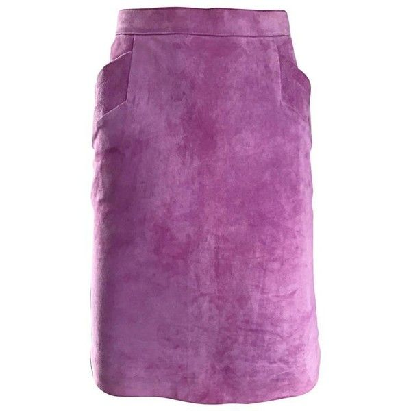 Preowned Ysl Vintage Yves Saint Laurent Purple Lilac Lavender Leather... ($850) ❤ liked on Polyvore featuring skirts, purple, bodycon skirt, high waisted leather skirt, high waisted pencil skirt, high-waisted pencil skirts and purple skirt