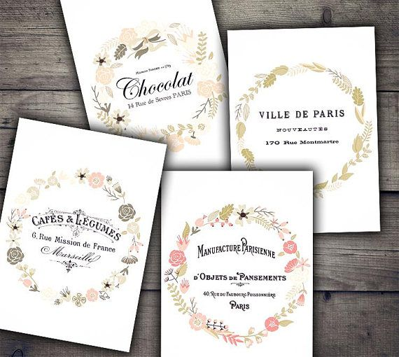 Floral Wreath Card Printables  Digital Collage Sheet Download