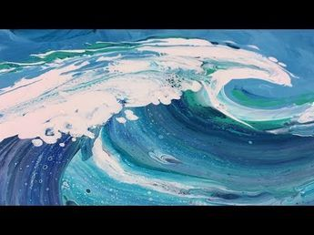 Fluid Abstract Painting Demo Waves, Painting with acrylic paints for beginners, Abstract Acrylic Painting – YouTube