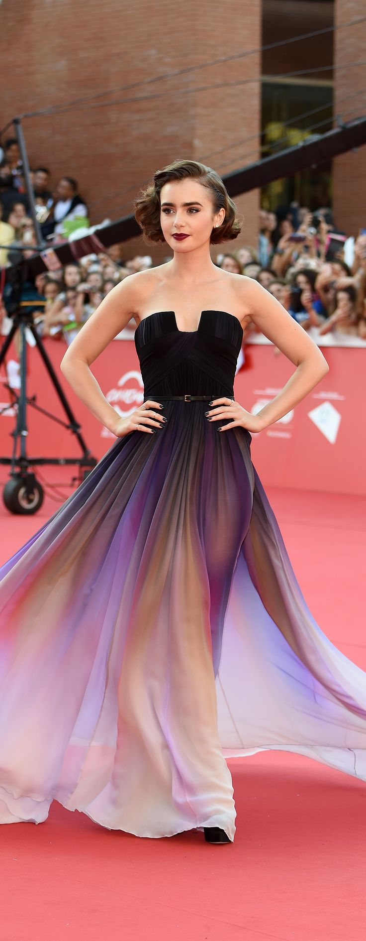 i love this dress so much- Lily Collins's Ombré Elie Saab Dress Just Won the Weekend's Red Carpet