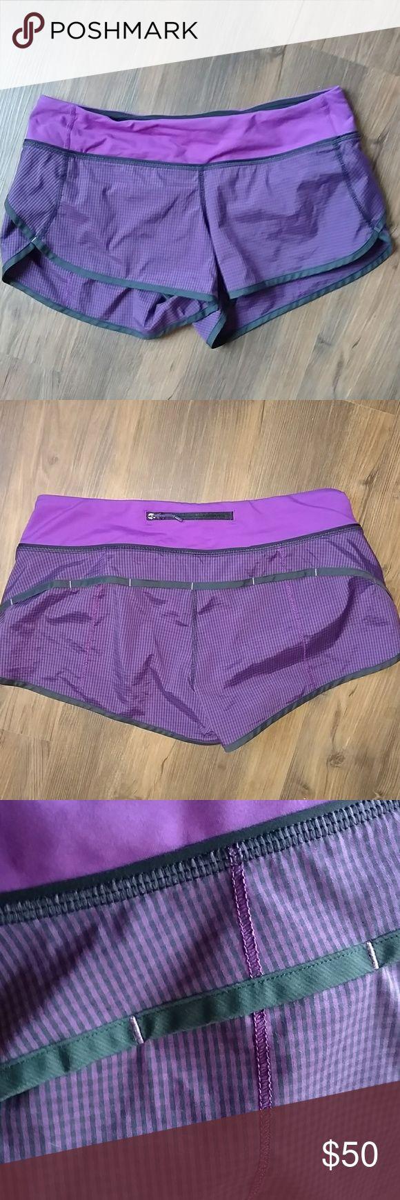 Lululemon 2way speed shorts VGUC 2-way purple & black mini check speed shorts. No snags or pilling. lululemon athletica Shorts
