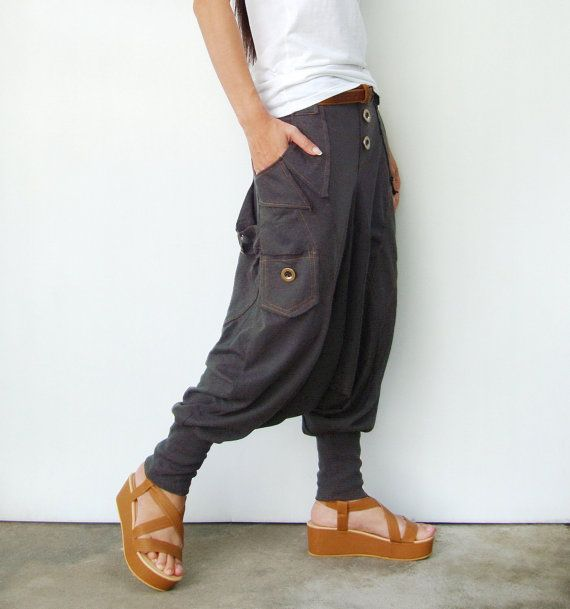 NO.95 Charcoal Cotton Jersey Casual Harem Pants by JoozieCotton