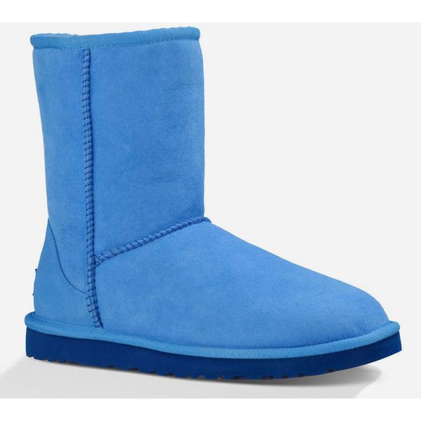 UGG Classic Short Womens Boots ($125) ❤ liked on Polyvore featuring shoes, boots, ankle booties, blue, blue boots, bootie boots, short boots, blue ankle boots and blue booties