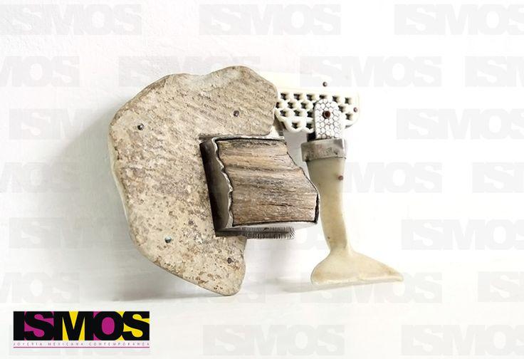 ISMOS Joyería: prendedor de plata y objetos encontrados // ISMOS Jewelry: silver and found objects brooch