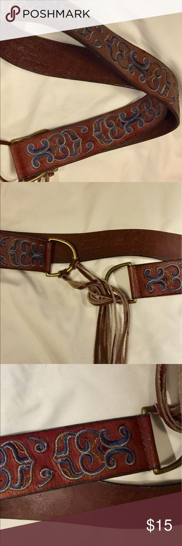 American Eagle Outfitters Embroiled tie belt Beautifully embroidered belt.  It is previously used but is in excellent condition with no rips, stains, etc   Perfect for that Boho outfit your planning on rocking this summer. American Eagle Outfitters Accessories Belts