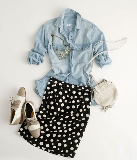 polka dot skirt and chambray