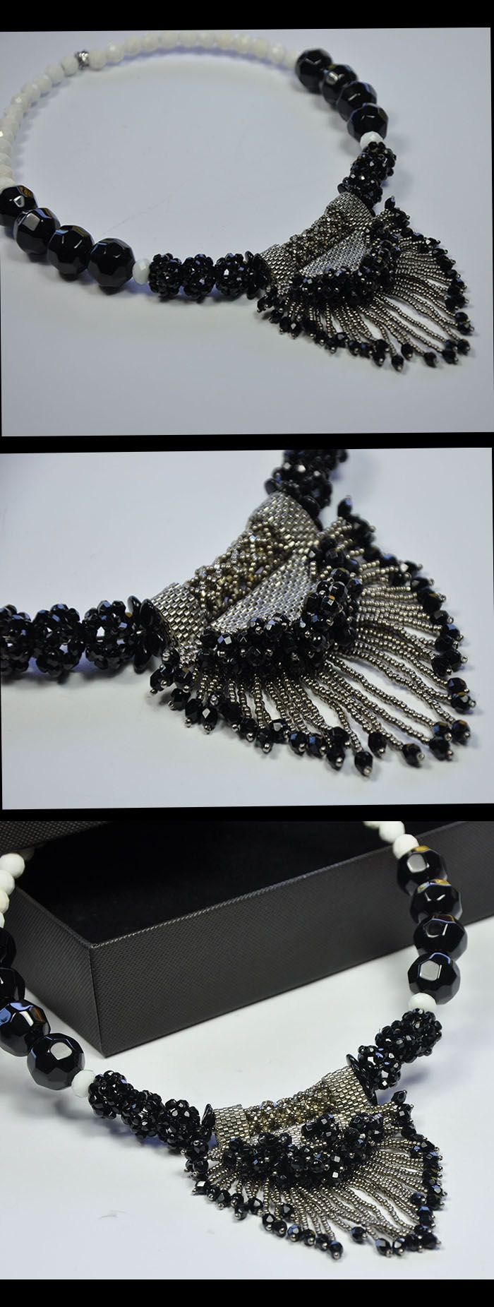 Superb Boho Choker , handmade with pearls ,white Agate and ONYX ,the pendant made with grain beads and small drops in ONYX,   The collar is 14 cm diameter  Total lengh/circumference total 40cm The pendant is 7cm longh  OFFER 10%Discount until 15th May Coupon Code: GLITZY1960