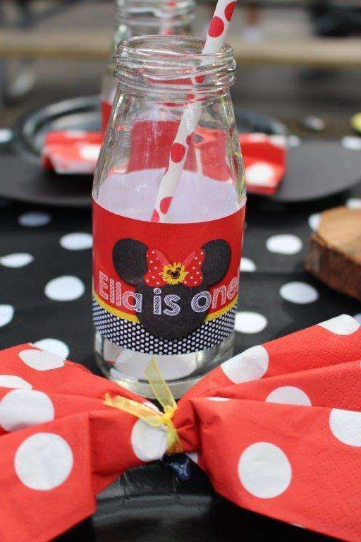 Milk bottles at a Minnie Mouse birthday party! See more party ideas at CatchMyParty.com!