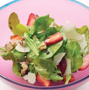 Serve Arugula and Strawberry Salad with a few grilled chicken breasts or pork chops for a quick and healthy dinner you can feel good about feeding your family.