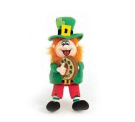 Finnegan the Irish Singing Leprechaun Soft Toy with Bodhran.